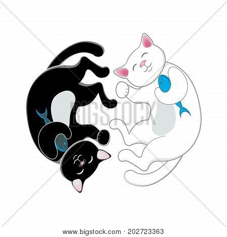 Logo, emblem with two cats, black and white, forming a circle, isolated cartoon vector illustration. Two cute, funny cats forming a circle, duality concept, attraction of opposites