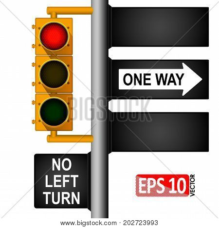 Yellow classic traffic light on a pole in the USA. Road signs. Regulation of traffic