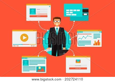 Web system of bank financial tools and information content from video blog site social networks online remittances and email. Vector Online Banking Illustration