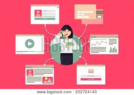 Web Life of Worker Woman with Telephone from video blog social networks online shopping and email. Graphic user interface and web pages forms and elements. Vector