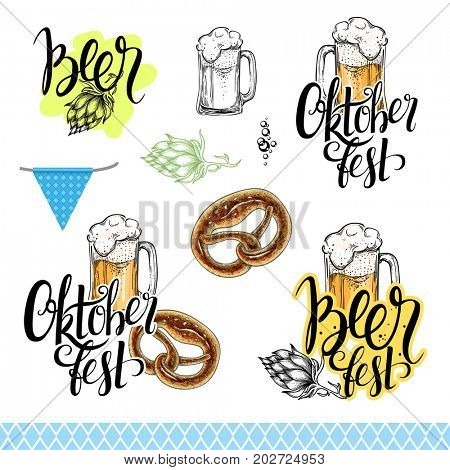 Oktoberfest collection. Lettering and design elements. Beer mug, pretzel and handwritten calligraphy.  The raster version.