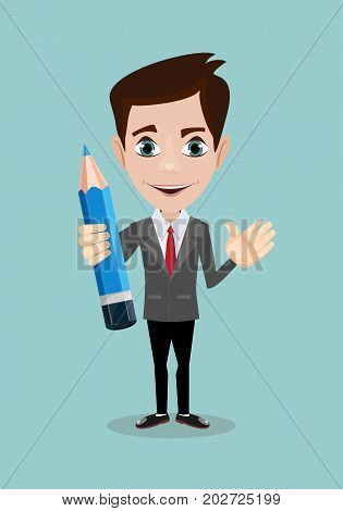 Handsome businessman with pencil . Stock vector illustration