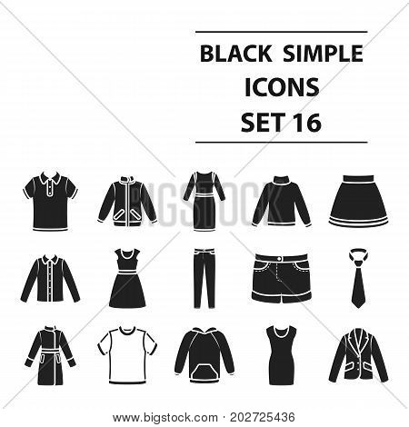 Clothes set icons in black style. Big collection clothes vector symbol stock