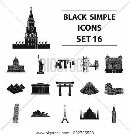 Countries set icons in black design. Big collection of countries vector symbol stock illustration