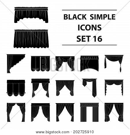 Fabric, textiles, interior and other curtains elements. Curtains set collection icons in black style vector symbol stock illustration.