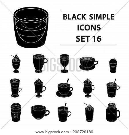 Different types of coffee. Different types of coffee. set collection icons in black style vector symbol stock illustration.