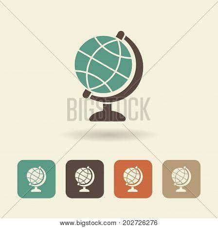 Simple flat icon of globe. Vector logo