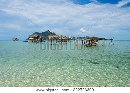 Stilted Houses Village Occupied By The Bajau Laut Of Sabah Borneo, Maiga Island In The Vicinity Of S