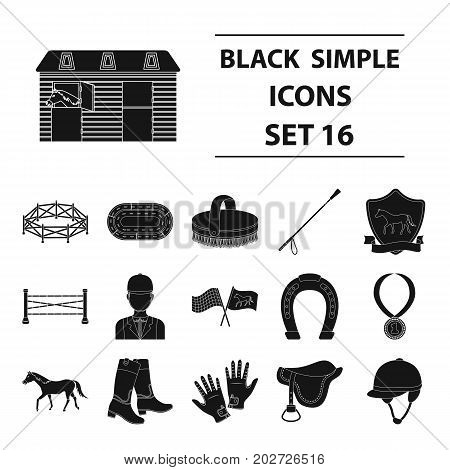 Hippodrome and horse set icons in black design. Big collection of hippodrome and horse vector symbol stock illustration