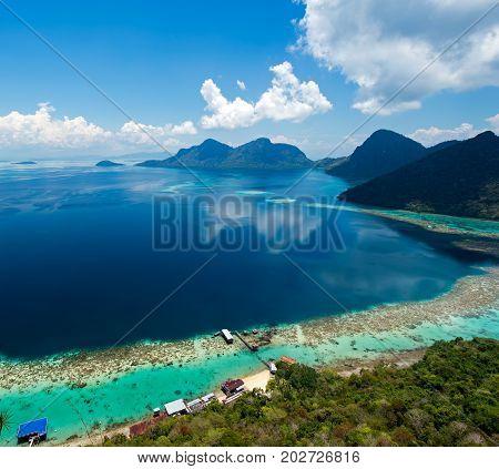 Beautiful View On Top Of Bohey Dulang Island In Tun Sakaran Marine Park In The Vicinity Of Sipidan M