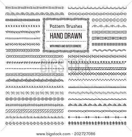 Set of Vector Pattern Brushes with Outer and Inner Corner Tiles. Easy color change. Perfect to create borders frames dividers. Hand drawn design elements.