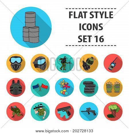Paintball set icons in flat design. Big collection of paintball vector symbol stock illustration
