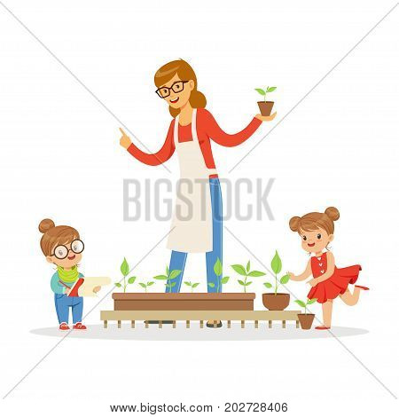 Little girl and boy helping their teacher to care for plants during botany lesson in kindergarten cartoon vector Illustration on a white background