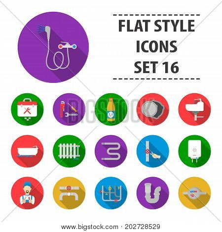Plumbing set icons in flat style. Big collection plumbing vector symbol stock