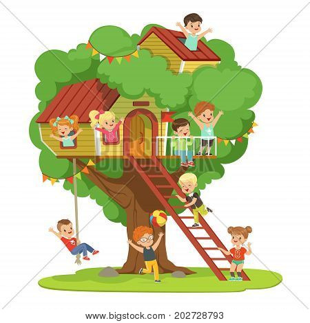 Kids having fun in the treehouse, childrens playground with swing and ladder colorful detailed vector Illustration on a white background