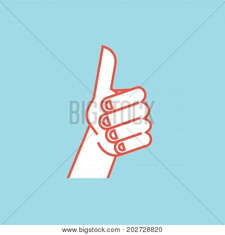 Gesture. Like sign. Stylized hand with thumbs up. Vector illustration isolated on a blue background. Icon. Making approval signal by hand. Orange lines and white silhouette.