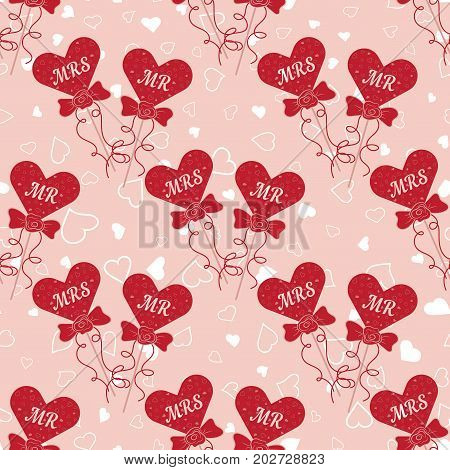 Wedding seamless pattern with hearts MR and MRS on a stick. Element for your wedding designs, valentine s day projects, and other your romantic projects. Romantic fabric pattern