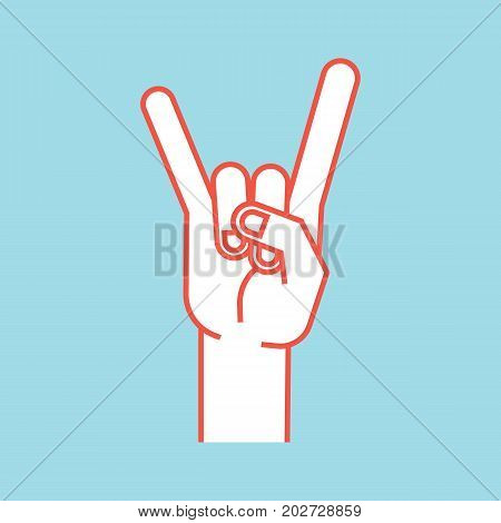 Gesture. Rock sign. Stylized hand with index and little finger up in form of horns. Vector illustration isolated on a blue background. Icon. Making rock-n-roll sign by hand. Orange lines and white silhouette.