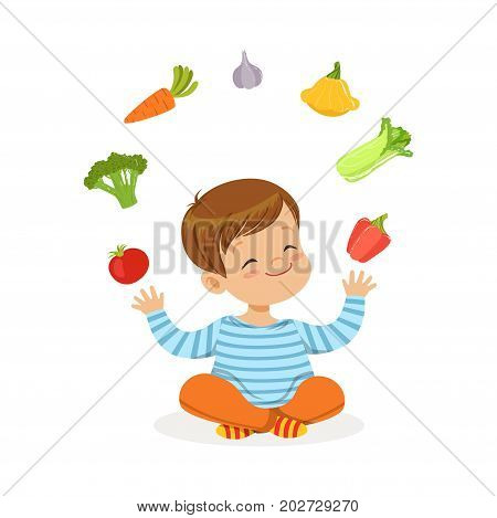 Smiling little boy sitting on the floor juggling with vegetables, kids healthy food concept colorful vector Illustration on a white background