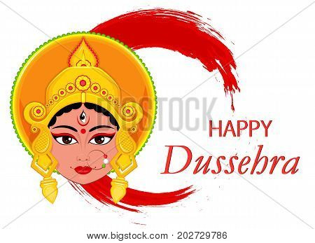 Happy Dussehra greeting card. Maa Durga Face on abstract background for Hindu Festival. Vector illustration