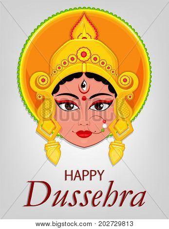 Happy Dussehra greeting card. Maa Durga Face for Hindu Festival. Vector illustration on light grey background