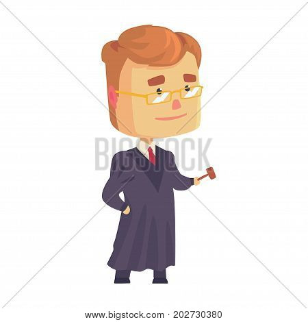 Judge man character in a black robe standing and holding judges gavel cartoon vector Illustration on a white background