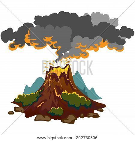 A set of volcanoes of varying degrees of eruption, a sleeping or awakening dangerous vulcan, salute from magma ashes and smoke fly out from volcano, the lava flowing down the mountain burns everything in its path vector illustration