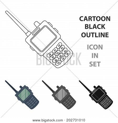 Handheld transceiver icon in cartoon design isolated on white background. Police symbol stock vector illustration.