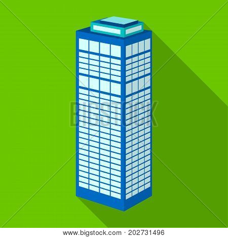 High-rise building of a skyscraper. Skyscraper single icon in flat style vector symbol stock illustration .