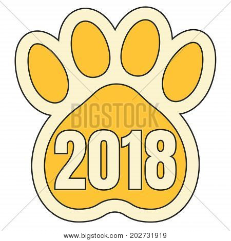 trail paws yellow dog ,symbol of 2018 Chinese calendar, vector sticker paw print yellow dog