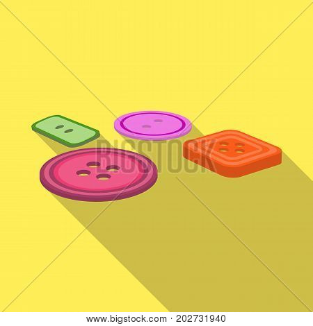Multicolored buttons for sewing. Sewing and equipment single icon in flat style vector symbol stock illustration .
