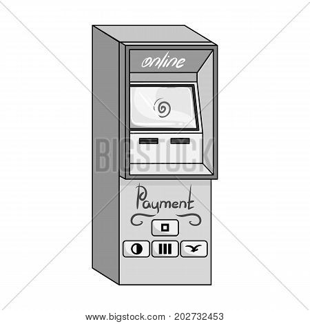 Terminal for various types of payment. Terminals single icon in monochrome style isometric vector symbol stock illustration .
