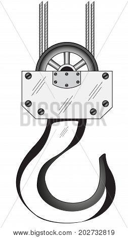 Black and white illustration of the crane hook