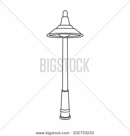 Lamppost with a conic bubble.Lamppost single icon in outline style vector symbol stock illustration .