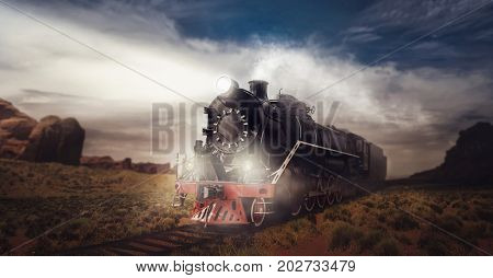 Old steam train, travel in valley