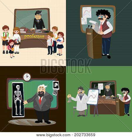 professor teaching at the blackboard, university education concept teacher with table in college or school vector illustration, character of science person, man reading lecture.