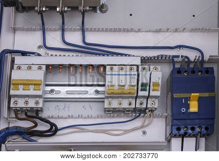 Control panel with circuit-breakers for electric motor during mantenance.