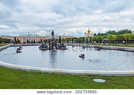 Saint Petersburg, Russia - July 7, 2017: view of the top Park of the Palace Pertergof. the gardens are located in Petergof, Saint-Petersburg, Russia.