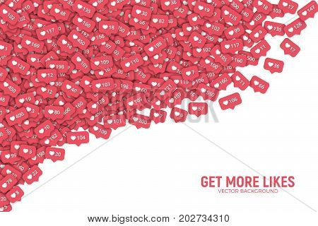 Instagram Vector 3D Social Network Like Counter Icons Abstract Illustration Isolated on White Background. Rating Scale Design Elements for Web, Internet, App, Advertisement, Promotion, Marketing, SMM, CEO