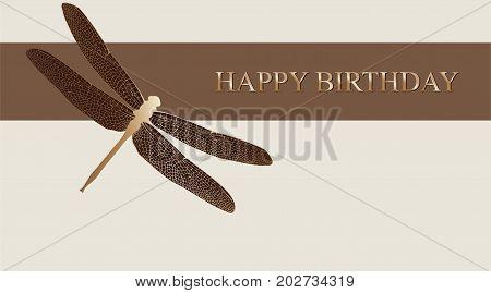Dragonfly greeting card. Vector happy birthday luxury card with gold dragonfly.