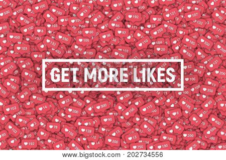 Instagram Vector 3D Social Network Counters Icons Abstract Illustration Get More Likes Background. Rating Scale Design Elements for Web, Internet, App, Advertisement, Promotion, Marketing, SMM, CEO, Business