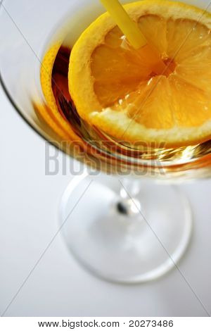 Martini close-up, glass and lemon, detailed