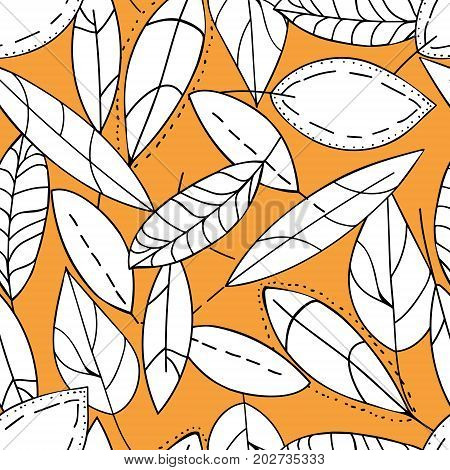 Doodle Textured Leaves Seamless Pattern. Hand Drawn Leaves Seamless Pattern. Autumn White Leaf On Or