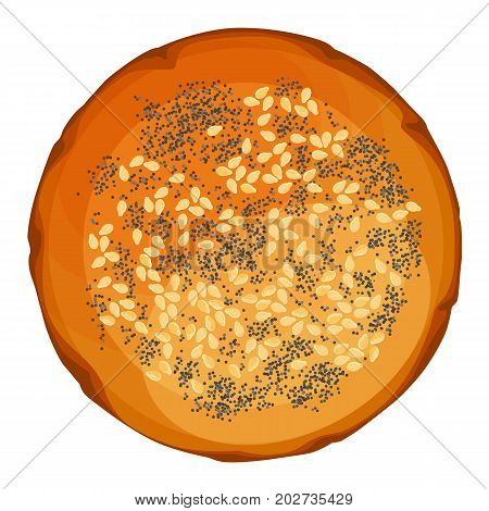 Bread roll round loaf with sesame and poppy top view vector illustration isolated on white background. Round bun can be used to make sandwiches