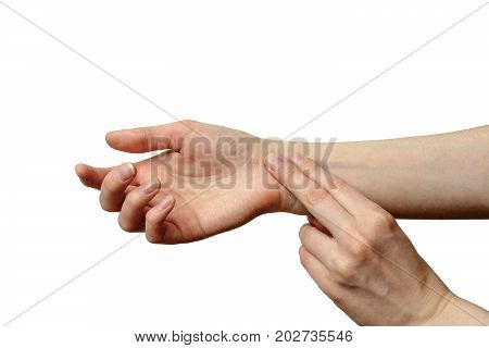 isolated female hand to measure pulse. illustration of healthy lifestyles high blood pressure tachycardia