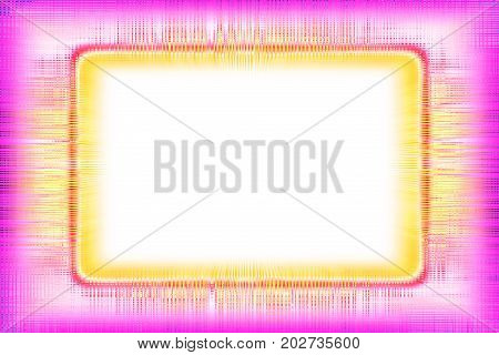Colourful pink and yellow lines border fading to a white background