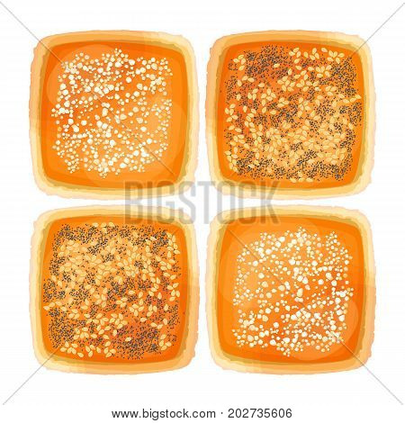 Top view on square bread loaves with sesame, poppy and flour toppings vector illustrations isolated on white background. Toasted bun can be used to make snacks