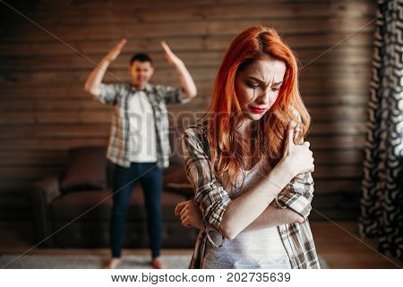 Family quarrel, couple in conflict, woman crying