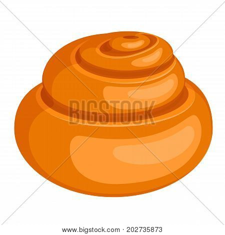 Closeup of soft tasty fresh-baked spiral-shaped bread roll with golden-brown crust isolated vector illustration on white background