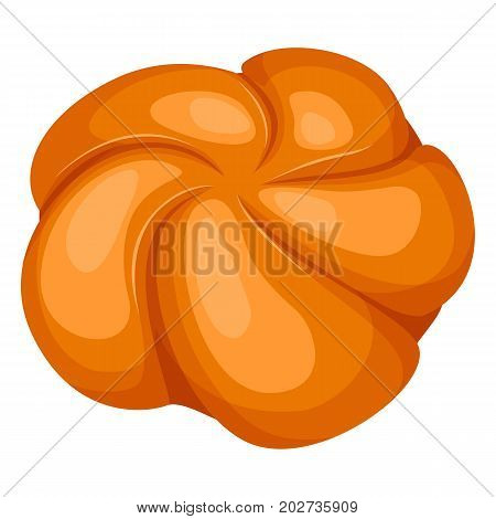 Closeup of delicious freshly baked round knot-shaped golden-crusty bread rolls isolated vector illustration on white background in realistic style